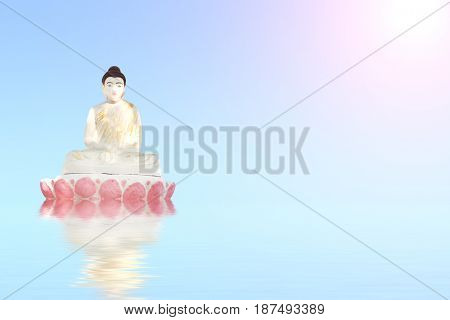 Old stone statue of meditating Buddha on blue water on sunny sky background with reflection in water. Copy space for your text
