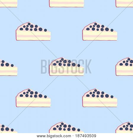 Seamless pattern of cakes, pies - yogurt, cream, berries. Tasty breakfast in restaurant. Made in cartoon flat style.