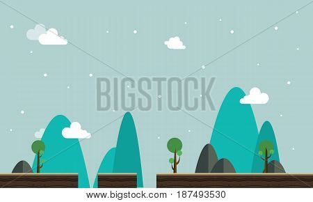 Scenery style vector flat game background collection stock