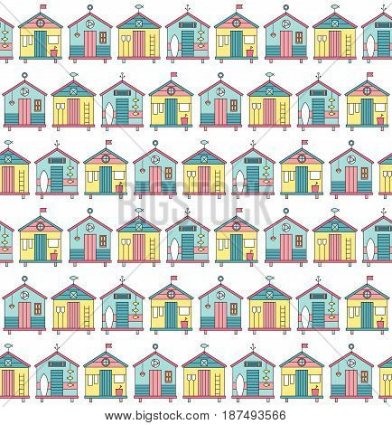 Summer beach seamless pattern. Vector bright background with huts. Can be used for wallpaper, surface textures, scrapbooking, fabric prints.