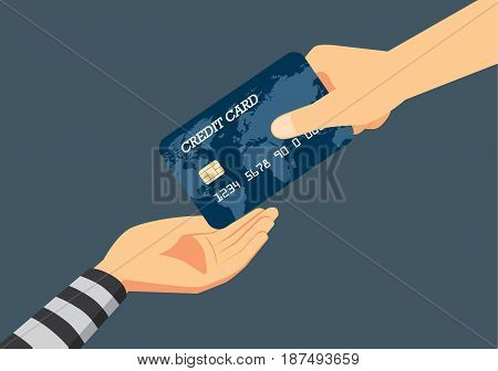 Hand of victim giving a credit card to robber. Illustration about fraud to identity theft when payment.