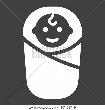 Baby birth solid icon, kid and newborn, vector graphics, a filled pattern on a black background, eps 10.