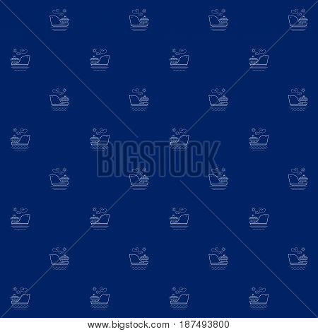 White Vessel on Blue Background, Seamless Sea Travel Pattern, Line Style Design, Vector Illustration