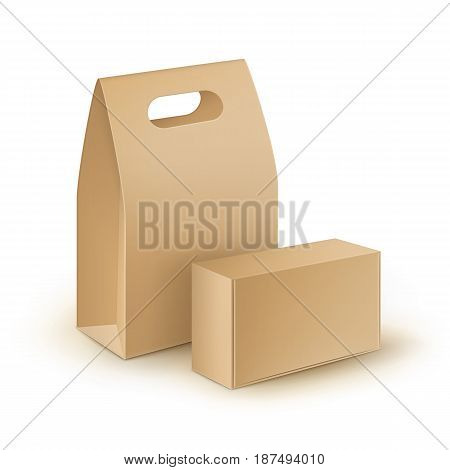 Vector Set of Brown Blank Cardboard Rectangle Take Away Handle Lunch Boxes Packaging For Sandwich, Food, Gift, Other Products Mock up Close up Isolated on White Background