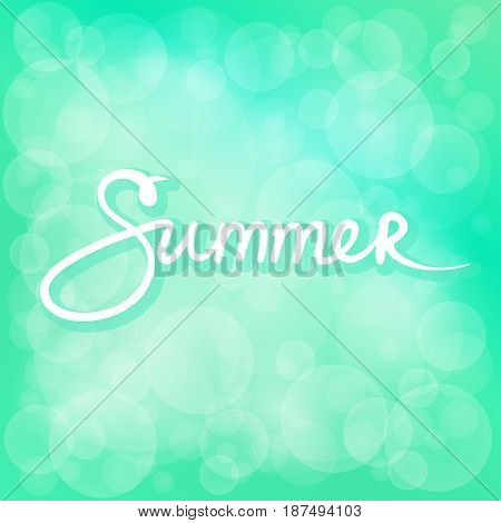 Green Soft Bright Abstract Bokeh Background and Text Summer , Soft Glow of the Sun , Defocused Lights, Summer and Spring Time, Vector Illustration