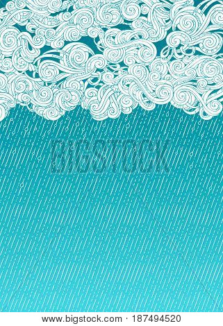 Vector Pouring Rain Background.
