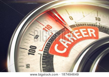 Metal Balance with Red Punchline Reach the Career. Illustration with Depth of Field Effect. Career Rate Conceptual Speedmeter with Message on Red Label. Business Concept. 3D.