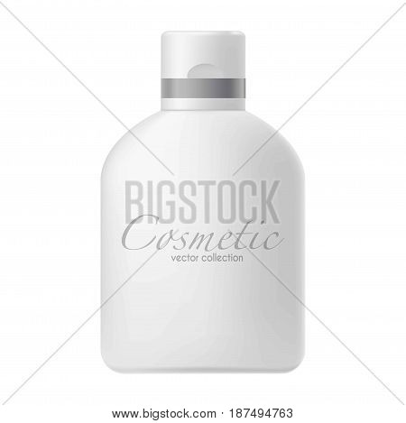 Vector illustration of big cosmetics bottle with moisturizing cream isolated on white.