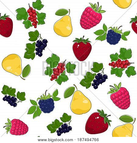 Fruit Berry Seamless Pattern , Juicy Pear and Red Strawberry , Pink Raspberries with Fresh Blackberry, Ripe Blackcurrant and Redcurrant, Vector Illustration
