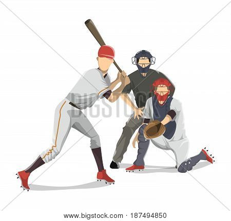 Baseball players team on white background. Catchers and man with bat.