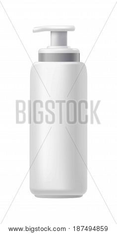 Plastic jar with a dispenser for cosmetics isolated on white. Vector illustration.
