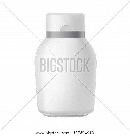 Vector illustration of cosmetic plastic bottle with openable cover on the white background.
