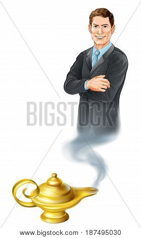 Business concept. A businessman genie coming out of a magic gold lamp like from Aladdin