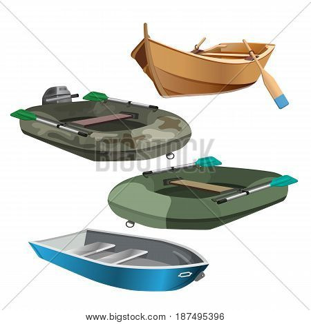 Set of boats realistic vector illustration isolated on white. Fishing and inflatable vessels with oars, rubber and wooden boat