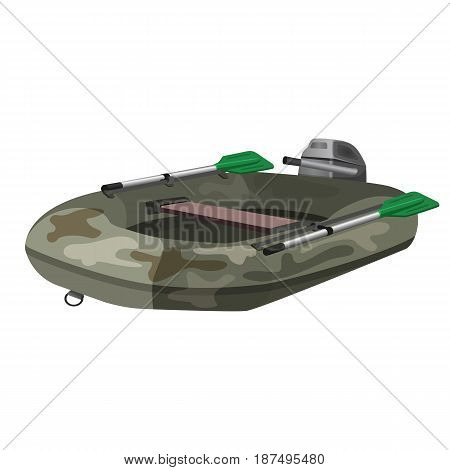 Inflatable rubber boat with oars realistic vector illustration isolated on white. Fishing vessel, rescue speedboat with motor, fishery watercraft