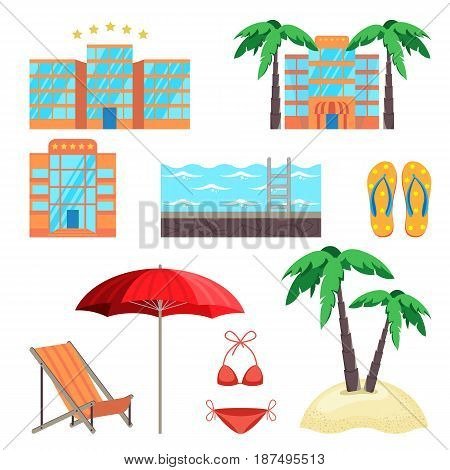 Summer holidays set with five stars hotel, swimming pool, beach slippers, swimming suit, palm trees and seaside accessories vector illustration
