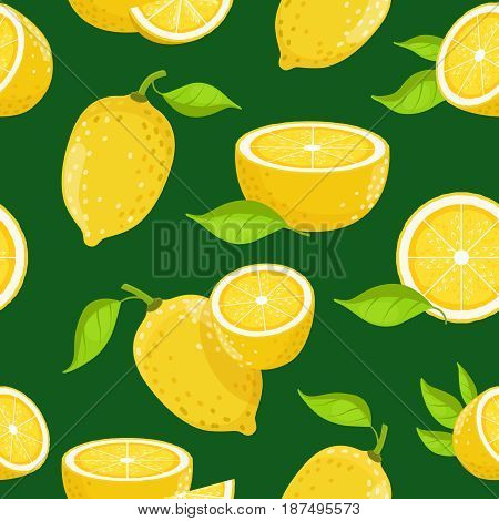 Lemon and different slices on dark background. Vector seamless pattern lemon with green leaves illustration