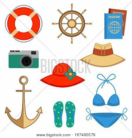 Summer holidays accessories vector illustration isolated on white. Set with headwear elements and swimsuit, photo camera and steering wheel, lifebuoy