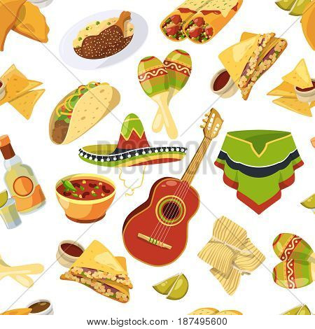 Mexican food vector seamless pattern on white background. Mexican pattern vintage, illustration of traditional mexican background