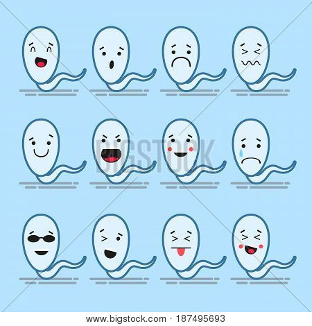 Set of 12 modern flat emoticons: sperm, smile, sadness and other emotions. Vector illustration isolated of color background