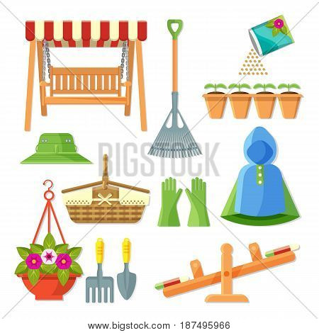 Set of garden equipment and decorative accessories vector illustration isolated on white. Collection of icons in gardening concept