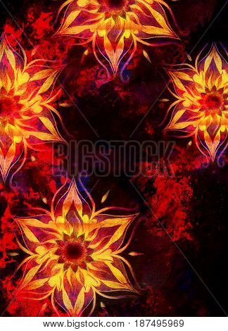 floral ornamental structure with filigrane pattern mandala on abstract background. Fire Effec