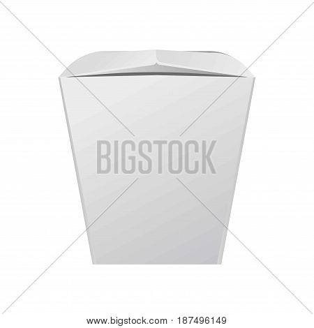 White closed standard cardboard box for Chinese fast food with close-fitting top for content safety isolated on white background. Ecologically safe container that can be recycled vector illustration.