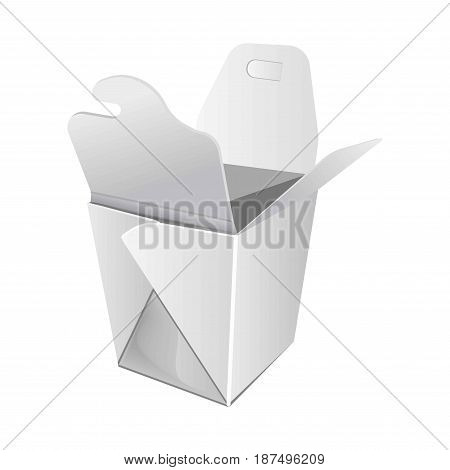 Open standard cardboard box for Chinese fast food with special top part details for strong hold content inside isolated on white background. Ecologically safe container vector illustration.
