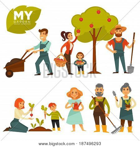 People working in garden colorful vector poster in flat design on white. Group of adults and children spending time outdoors by picking fruit and vegetables, dealing with ground and watering plants.
