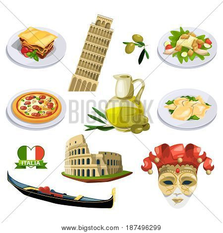 Different traditional elements and symbols of italy, venice. Travel vector illustrations in cartoon style. Italy travel and culture, italian traditional famous place
