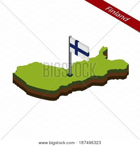 Finland Isometric Map And Flag. Vector Illustration.