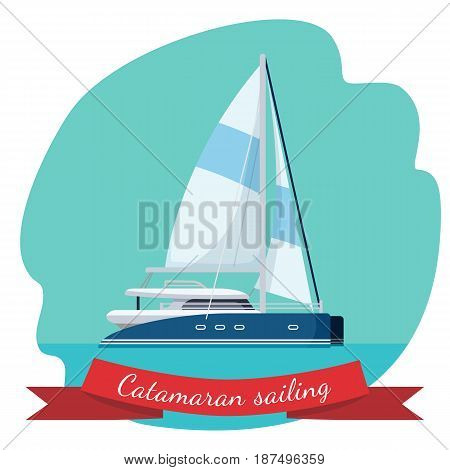 Catamaran sailing boat with canvas vector illustration isolated in blue circle. Traveling by sea concept. Modern yacht realistic design