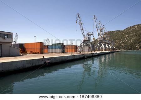 Cranes in the harbor, Ploce harbor in Croatia