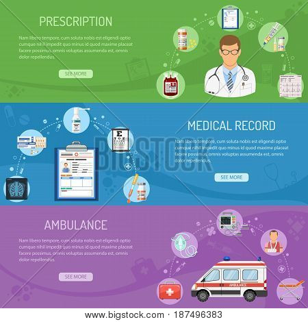 Medical horizontal banners prescription, medical card, ambulance with flat icons doctor, syringe, cardiogram, blood container. isolated vector illustration