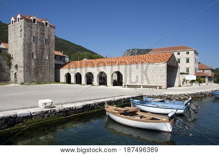 Village Mali Ston near Dubrovnik on Peljesac peninsula in Croatia