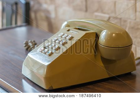Retro Telephone On Wooden Table, Vintage Style