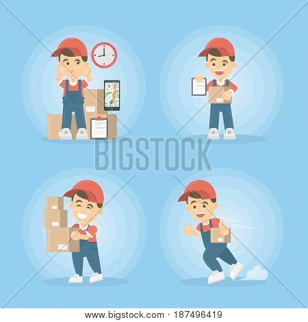 Delivery service set. Man in uniform with boxes.