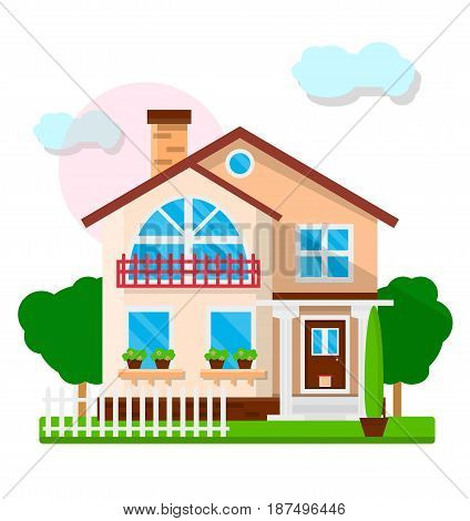 Nice town house with big balcony, chimney, cute porch, flower pots on window sills, white fence, green lawn and trees isolated on white background with blue clouds and sun vector illustration.