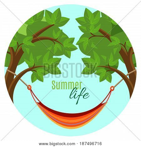 Summer life vector illustration with hammock hanging between green tree brunches in round button. Rest on fresh air concept