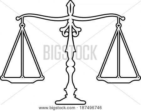 Judge Gavel Scales Of Justice Icon  Raster Illustration
