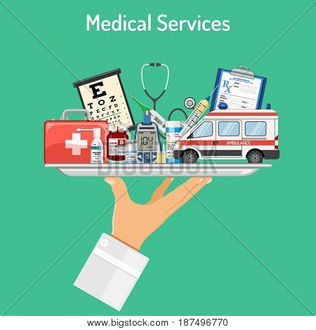 Medical Services concept with flat icons doctor hand holds tray with medicaments like blood container, ambulance car, prescription, thermometer, syringe. isolated vector illustration