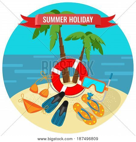 Summer holidays poster with tropical island and travelling accessories under palm trees vector illustration. Elements of cloth and equipment for diving
