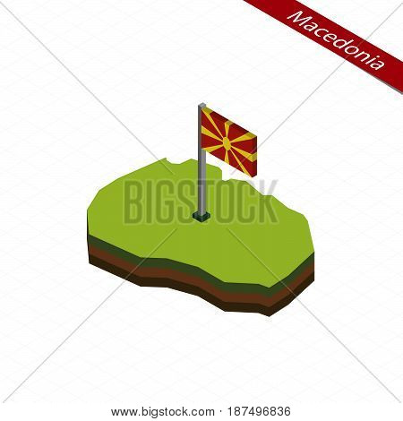 Macedonia Isometric Map And Flag. Vector Illustration.