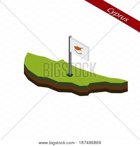 Cyprus Isometric Map And Flag. Vector Illustration.