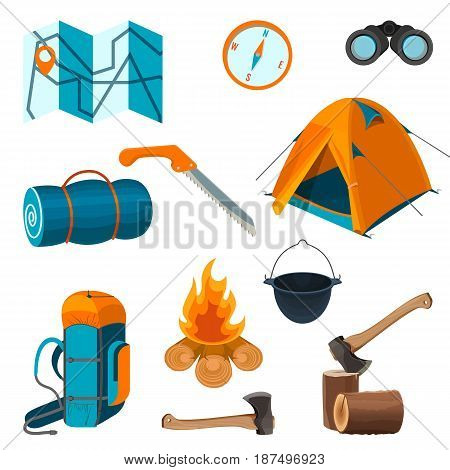 Set of accessories for camping rest and hiking activities isolated on white background. Elements for picnic on fresh air vector illustration