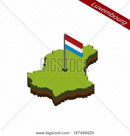 Luxembourg Isometric Map And Flag. Vector Illustration.