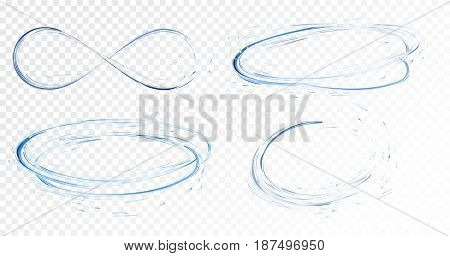 Set of transparent water splashes, circles, whirlpools, drops and crown from falling into the water in light blue colors, isolated on transparent background. Transparency only in vector file.