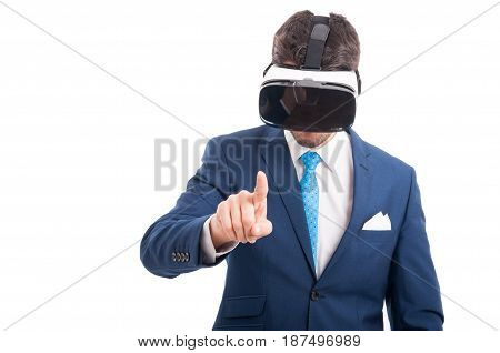 Salesman In Formal Wear With Virtual Reality Glasses
