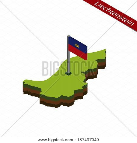 Liechtenstein Isometric Map And Flag. Vector Illustration.