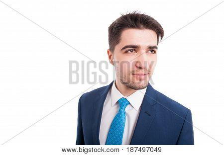 Closeup Portrait Of  Professional Salesman In Blue Suit